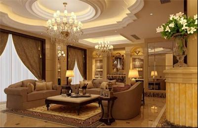 欧式风格别墅客厅吊灯从华丽的装饰