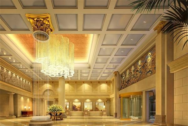 欧式灯具_欧式大型星级酒店大堂灯具设计效果图案例