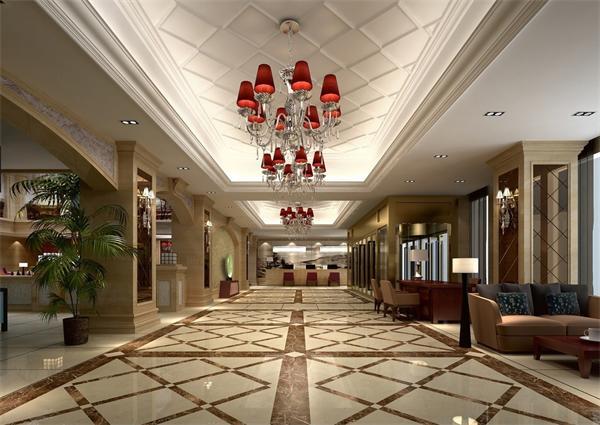 欧式灯具_欧式大型星级酒店大堂灯具设计效果图案例图片