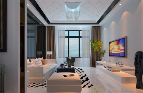 现代简约风格别墅客厅水晶灯具装饰效果图