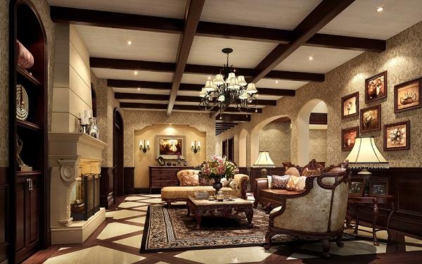 美式装修风格的客厅孙氏照明设计师采用的是铁艺灯具