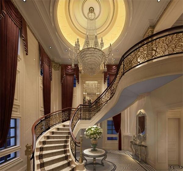 欧式别墅楼梯水晶吊灯设计定制效果图