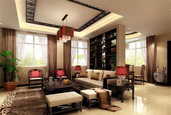 新中式别墅客厅灯具设计定制案例