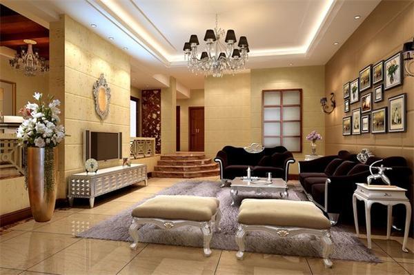 欧式别墅客厅灯具设计定制案例效果图
