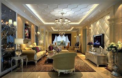 比如沙发墙背景色为暖色调