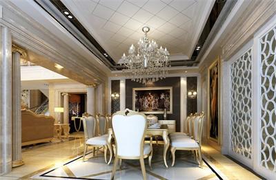 搭配在欧式风格的餐厅中十分和谐